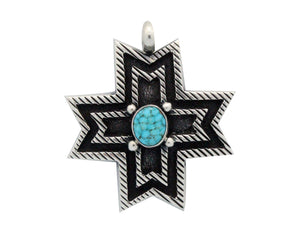 Aaron Anderson, Pendant, Number Eight Turquoise, Navajo Handmade, 2