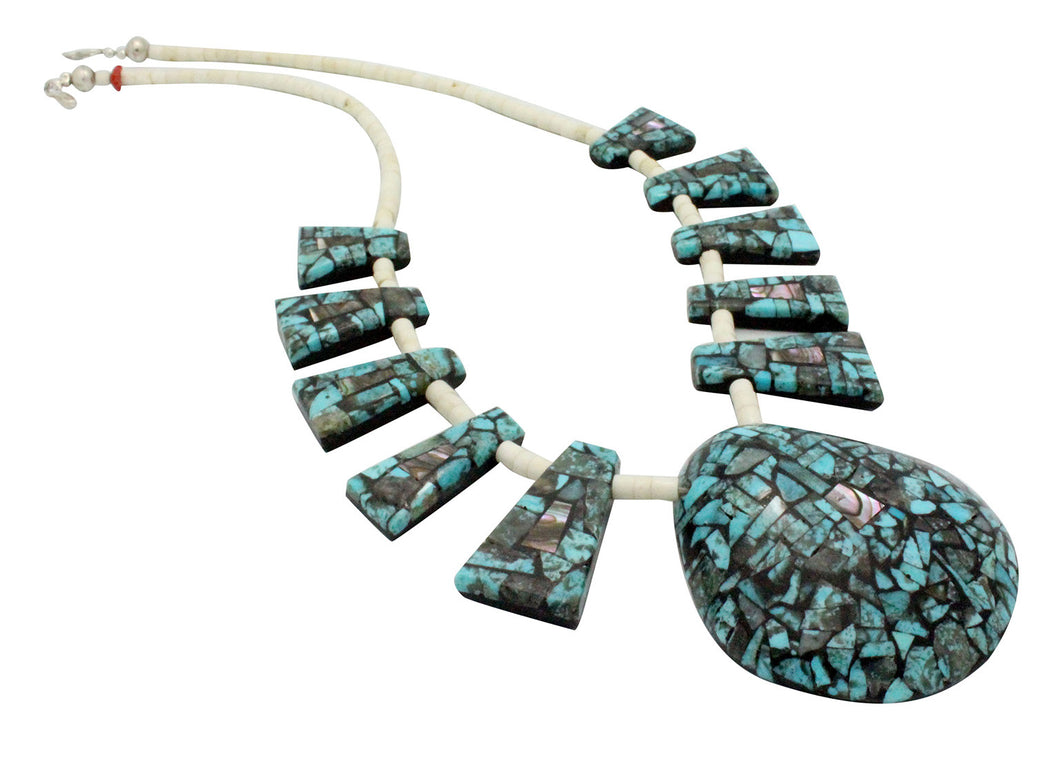 Bryan Tom, Necklace, Shell, Turquoise, Inlay, San Felipe, Navajo Handmade, 21.5