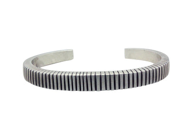 Load image into Gallery viewer, Calvin Martinez, Narrow Bracelet, Stamping, Lines, Silver, Navajo Made, 6.75