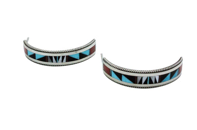 Load image into Gallery viewer, Weahkee, Pierced Earrings, Turquoise, Coral, Jet, Shell, Zuni Handmade, 1.25