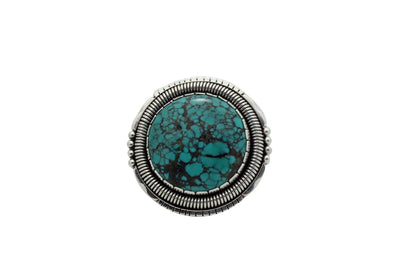 Load image into Gallery viewer, Derrick Gordon, Ring, Chinese Turquoise, Large, Silver, Navajo Handmade, 8.5