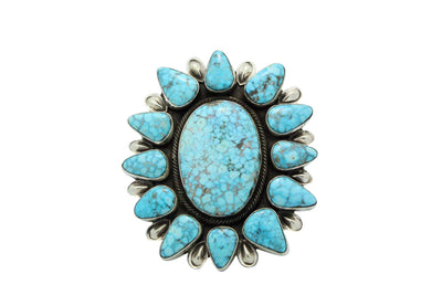 Load image into Gallery viewer, Rick Martinez, Bracelet, Kingman Turquoise, Cluster, Navajo Handmade, 6.5