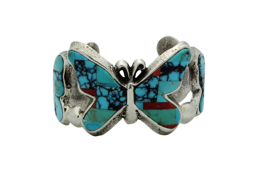 Lester James, Bracelet, Butterflies, Multi Stone Inlay, Tufa, Navajo Made, 6 7/8