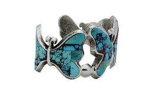 Lester James, Bracelet, Butterflies, Multi Stone Inlay, Tufa, Navajo Made, 6.75