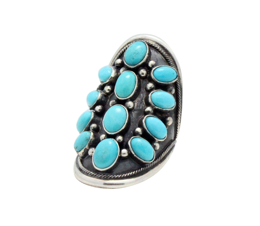 Freddie Maloney, Ring, Sleeping Beauty Turquoise, Saddle Design, Navajo, 7.5