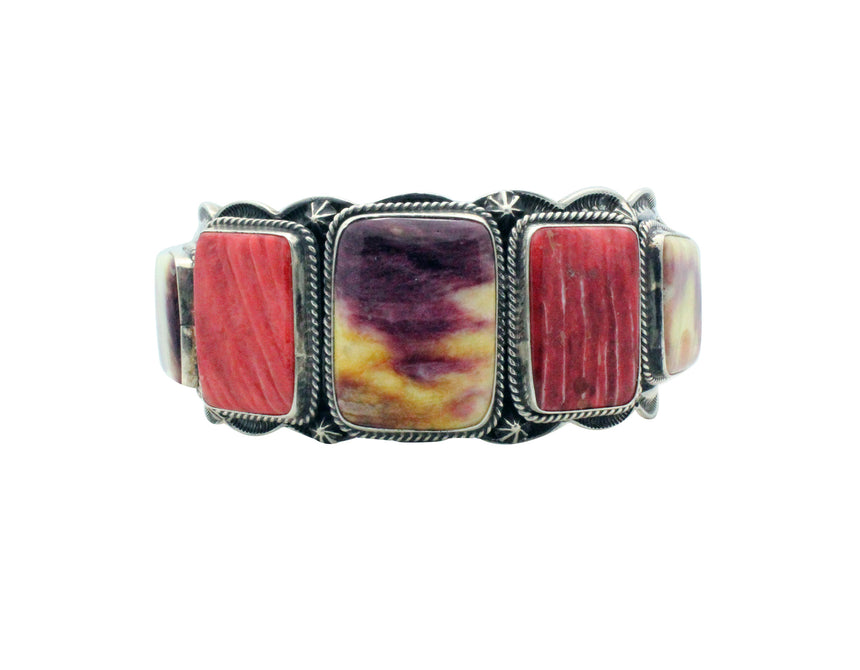 Donovan Cadman, Bracelet, Purple, Yellow, Red Spiny Oyster, Navajo Made, 6.75