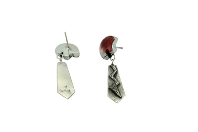 Load image into Gallery viewer, Kevin Yazzie, Pierced Earrings, Dangle, Tufa, Bears, Navajo Handmade, 2