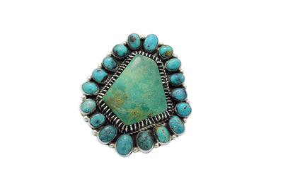 Load image into Gallery viewer, Vernon, Clarissa Hale, Ring, Big, Fox Turquoise, Silver, Navajo Handmade,