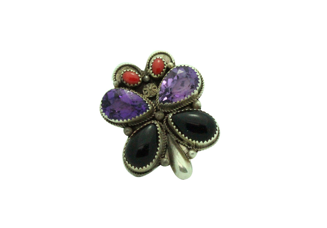 Navajo Handmade Ring, Jet, Mediterranean Coral, Gem Stone, Butterfly, Silver, 8