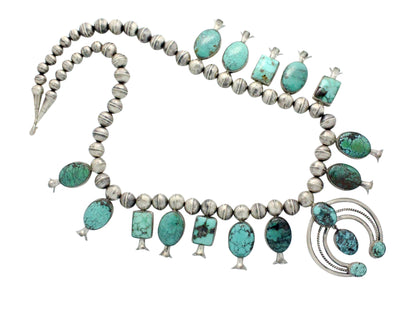 Load image into Gallery viewer, Leon, Marie Kurley, Squash Blossom Necklace, Turquoise, Navajo Handmade, 26