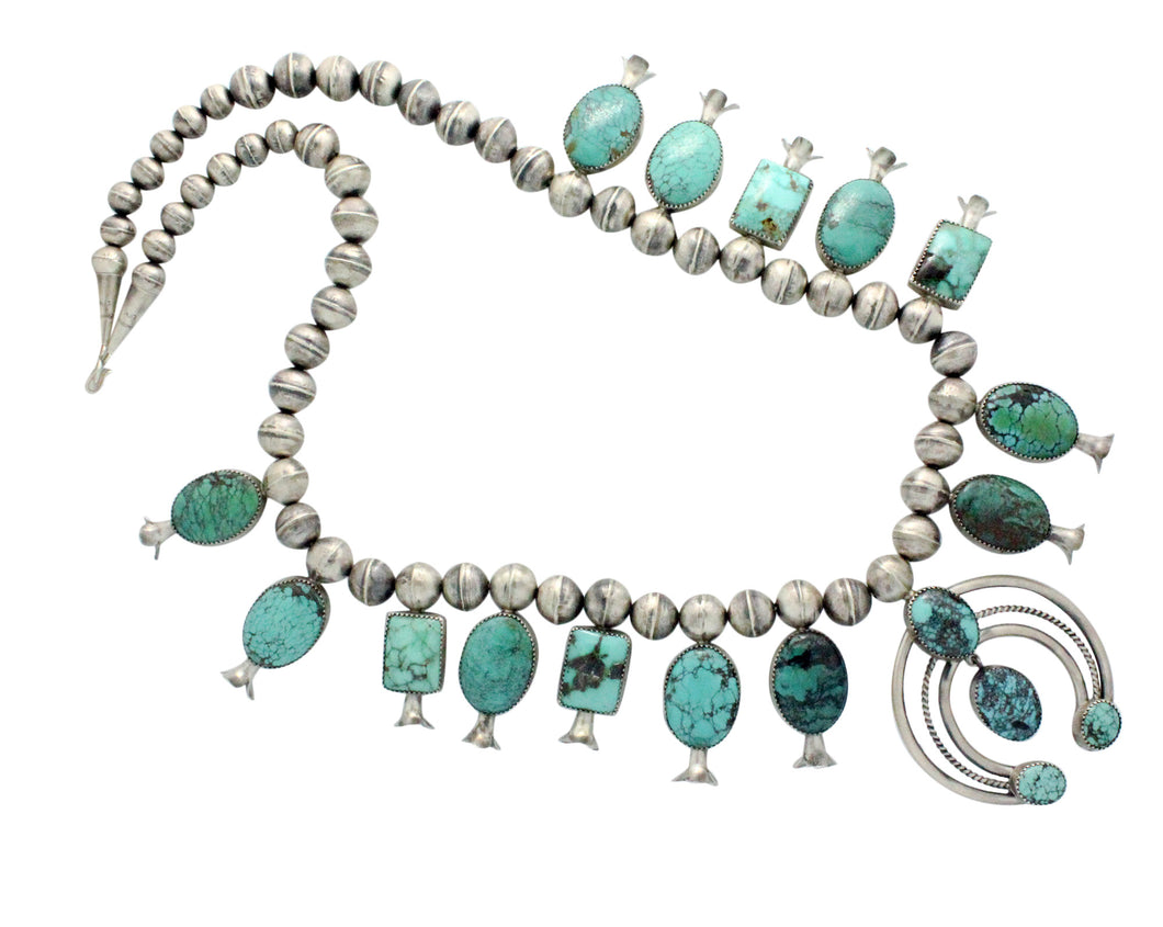 Leon, Marie Kurley, Squash Blossom Necklace, Turquoise, Navajo Handmade, 26