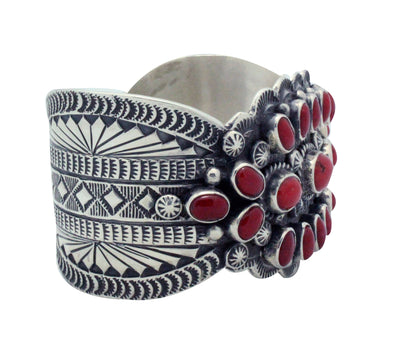 Load image into Gallery viewer, Tillie Jon, Bracelet, Mediterranean Coral, Cluster, Silver, Navajo Made, 6.75