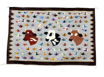 Load image into Gallery viewer, Wenora Joe, Bird/Cow Pictoral, Navajo Handwoven Rug, 39 in x 47 in