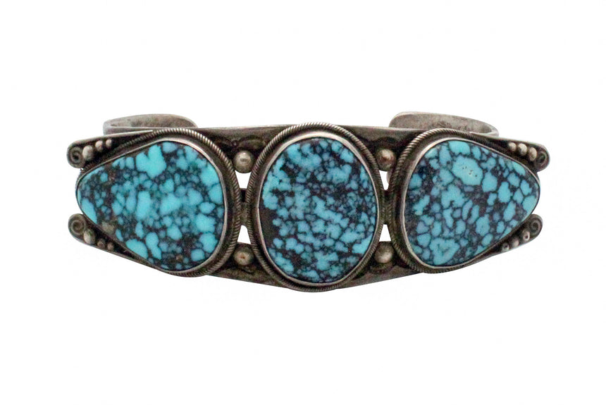Perry Shorty, Coin Silver Bracelet, Hand Wrought, Spider Web Turquoise, 1989