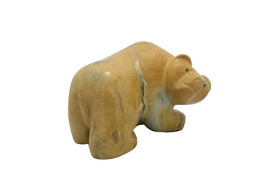 Load image into Gallery viewer, Orin Eriacho, Bear Fetish, Travertine, Hand Carved, 2.75""
