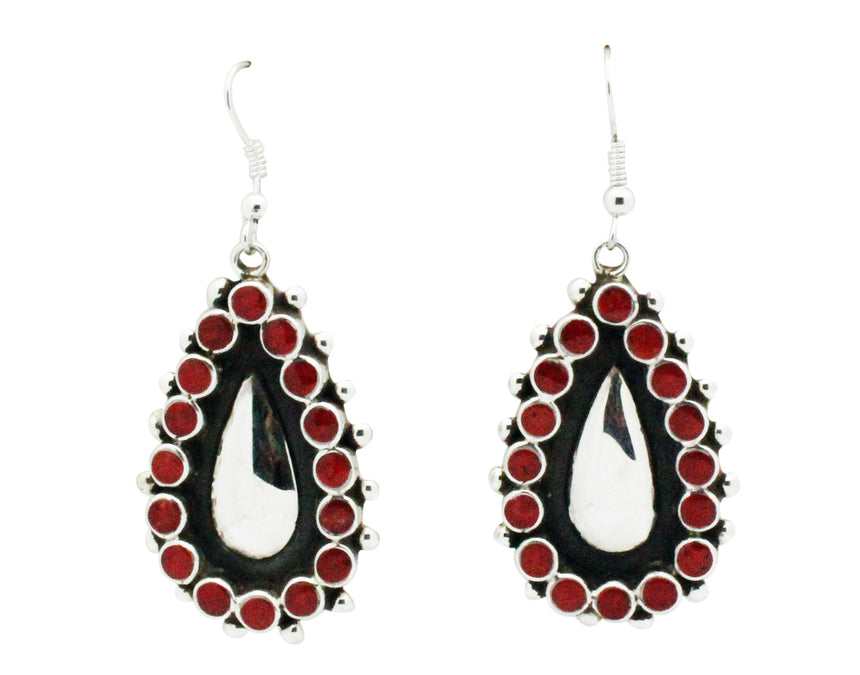 Vincent Shirley, Earrings, French Hook, Mediterranean Coral, Inlay, Navajo, 2.25