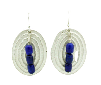 Load image into Gallery viewer, Alvin Yellowhorse, Earrings, Lapis Lazuli, French Hook, Navajo Handmade, 2