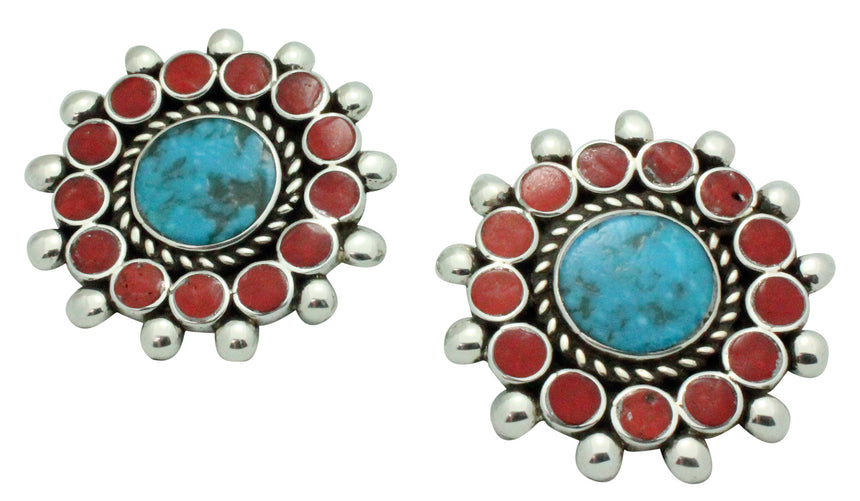 Vincent Shirley, Clip On Earrings, Turquoise, Coral Cluster, Navajo Made