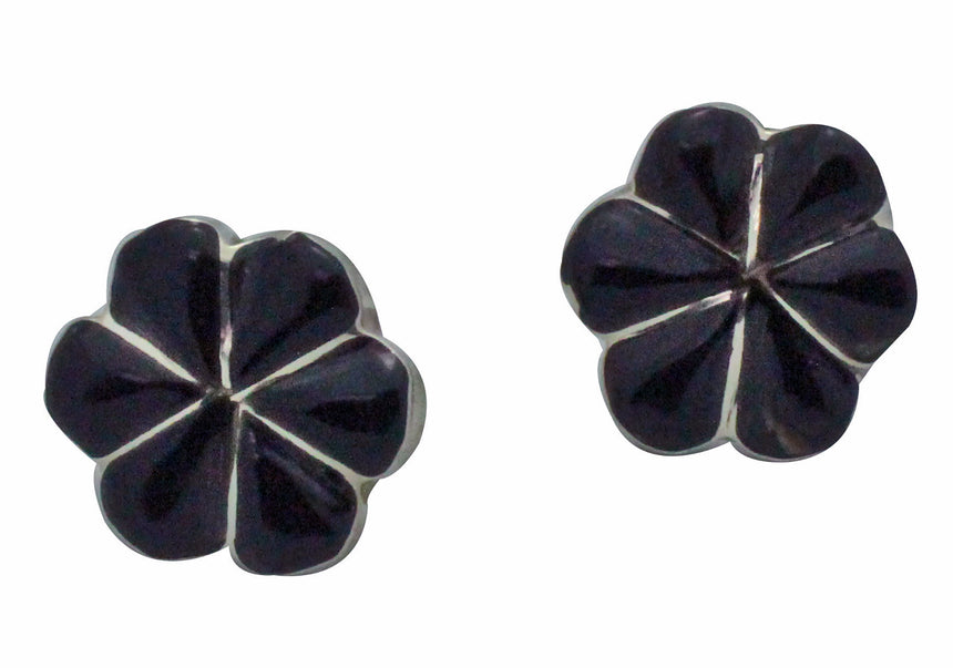 Gloria Shetima, Pierced Earrings, Inlay, Black Jet, Silver, Zuni Handmade, .6