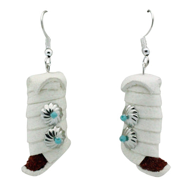 Load image into Gallery viewer, Navajo Handmade Earrings, Moccasins With Wraps, French Hook, 2