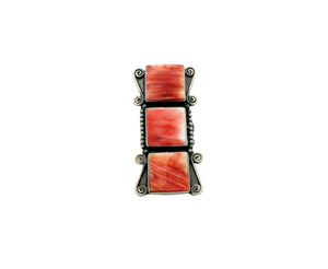 Freddie Maloney, Ring, Red Spiny Oyster Shell, Three Stones, Navajo Made, 6.5