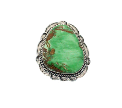 Load image into Gallery viewer, Ben Begaye, Ring, Green Gaspeite, Sterling Silver, Navajo Handmade, 8.5
