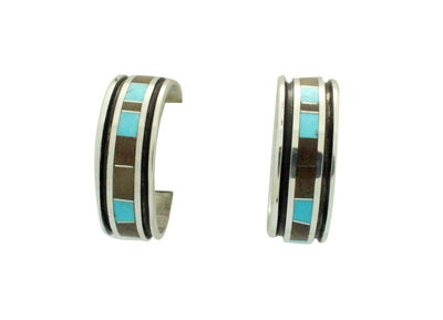 Load image into Gallery viewer, Henry Sam, Eugene Chee, Earrings, Hoop, Jasper, Turquoise, Navajo Handmade
