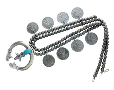 Load image into Gallery viewer, Mildred Parkhurst, Necklace, Lady Liberty Half Dollar Coins, Navajo Made, 25""