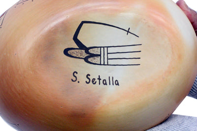 "Load image into Gallery viewer, Stetson Setalla, Bowl Boat, Hand Coiled Pottery, Hopi Handmade, 3.25"" x 9"""