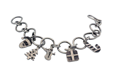 Load image into Gallery viewer, Lee Begay, Charm Bracelet, Christmas, Tufa Casting, Navajo Handmade,