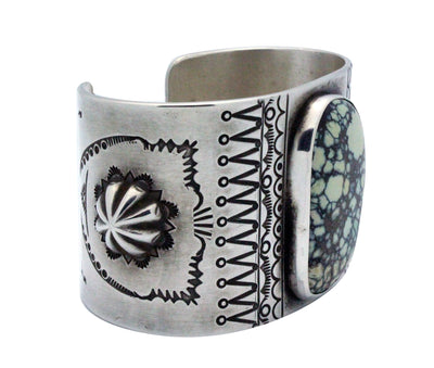Load image into Gallery viewer, Luther Evans, Bracelet, New Lander Turquoise, Stamping, Navajo Handmade, 6 7/8""