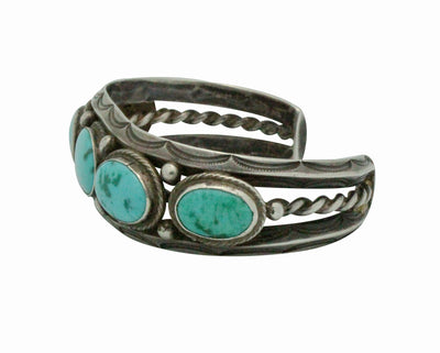 Load image into Gallery viewer, Navajo Handmade Cuff, Circa 1940s, Triangle Wire, Lone Mountain Turquoise, 6 1/4""
