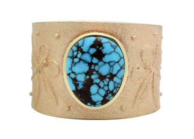 Load image into Gallery viewer, Darryl Dean Begay, Bracelet, Egyptian Turquoise, 14k Gold, Navajo Handmade, 6.5