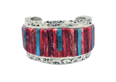 Load image into Gallery viewer, Clinton Pete, Bracelet, Inlay, Turquoise, Red Spiny Oyster, Navajo Made, 6.5