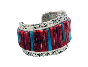 Clinton Pete, Bracelet, Inlay, Turquoise, Red Spiny Oyster, Navajo Made, 6.5