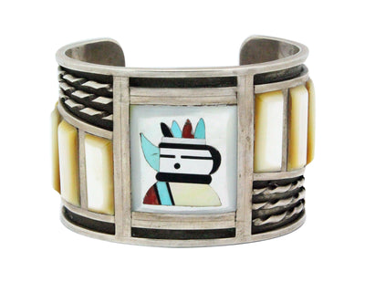 Load image into Gallery viewer, Martin Panteah, Bracelet, Circa 1970s, Inlay Kachina, Wide, Zuni Handmade, 6.5