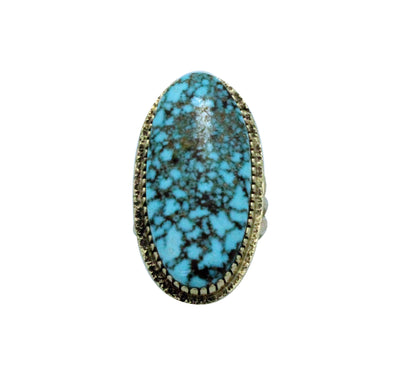 Load image into Gallery viewer, Harrison Jim, Ring, Turquoise Mountain, 14K Gold, Tufa, Navajo Handmade, 8.5