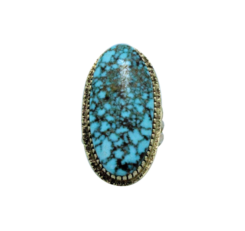 Harrison Jim, Ring, Turquoise Mountain, 14K Gold, Tufa, Navajo Handmade, 8.5