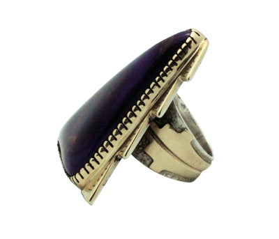 Load image into Gallery viewer, Tommy Jackson, Ring, Sugilite, 14k Gold, Sterling Silver, Navajo Handmade, 8