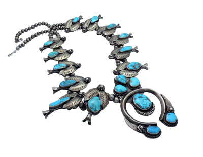 Load image into Gallery viewer, Navajo Handmade Squash Blossom Necklace, Circa 1960s, Ramone Platero