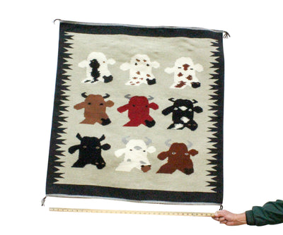 "Load image into Gallery viewer, Wenora Joe, Cow Pictoral, Navajo Handwoven Rug, 39"" x 38"""