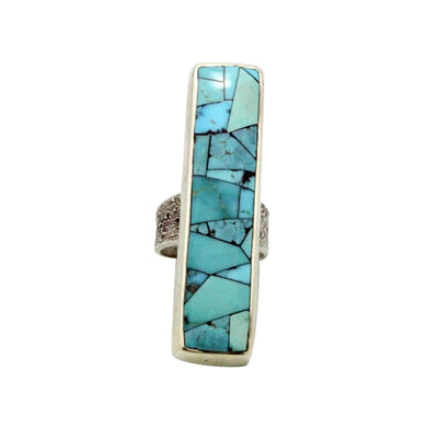 Load image into Gallery viewer, Lester James, Ring, Tufa, Silver, Inlay, Arizona Turquoise, Navajo Handmade, 9