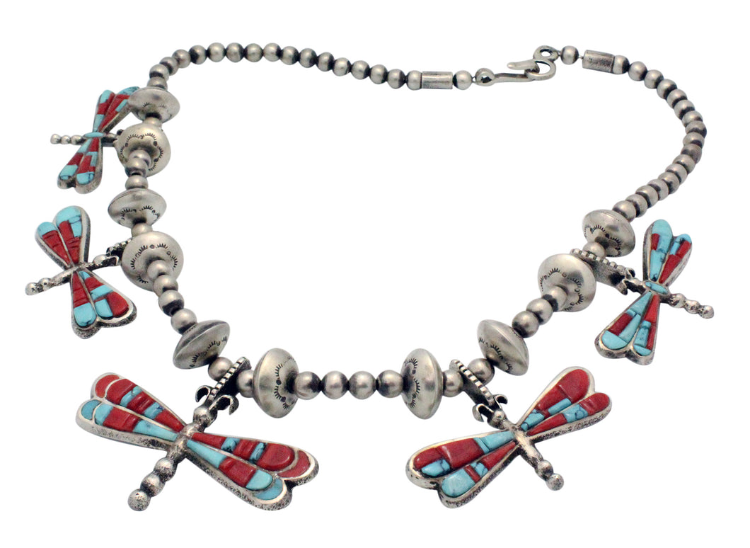 Lester James, Necklace, Dragonfly, Silver Beads, Turquoise, Coral, Navajo