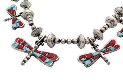 Load image into Gallery viewer, Lester James, Necklace, Dragonfly, Silver Beads, Turquoise, Coral, Navajo