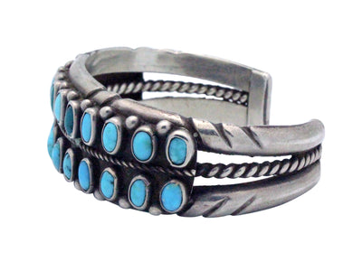Load image into Gallery viewer, Navajo Handmade Bracelet, Circa 1970s, Persian Turquoise, Classic Row, 6 7/8""