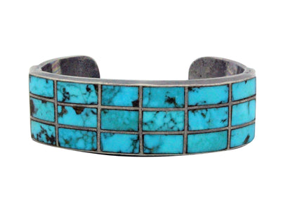 Load image into Gallery viewer, Navajo Handmade Bracelet, Circa 1960s, Morenci Turquoise, Channel Inlay, 6.25