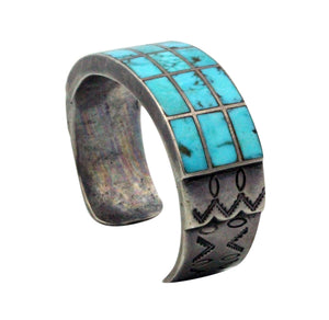 Navajo Handmade Bracelet, Circa 1960s, Morenci Turquoise, Channel Inlay, 6.25
