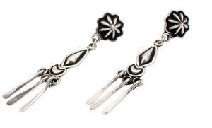 Stacey Gishal, Earrings, Pierced, Dangles, Sterling Silver, Navajo Handmade, 2.75