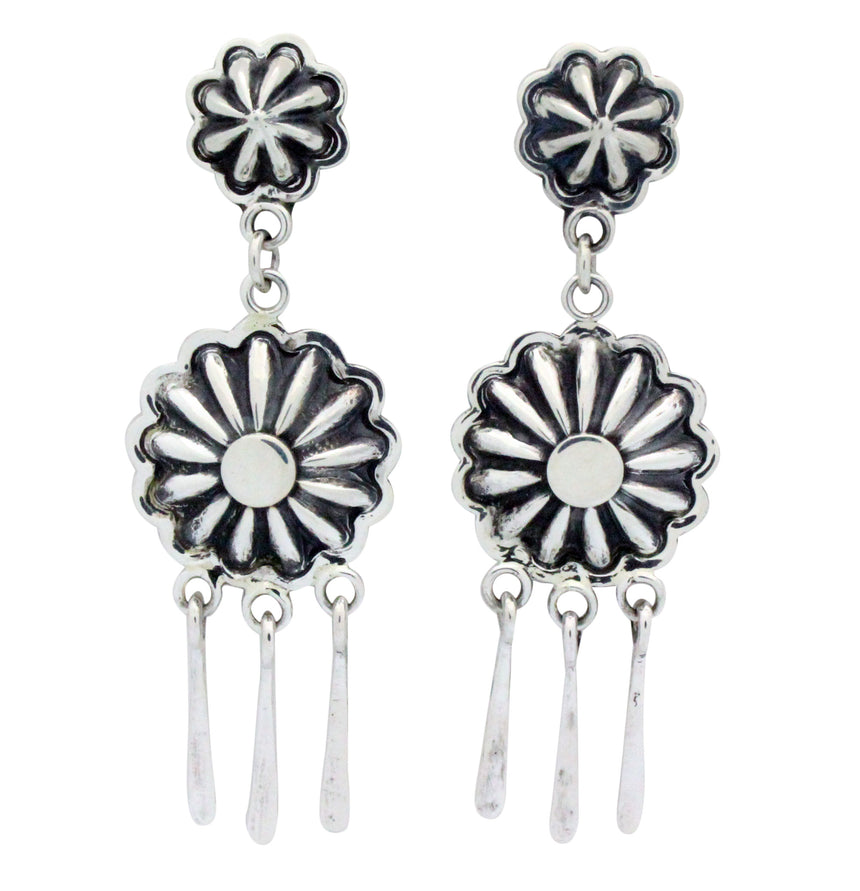 Stacey Gishal, Earrings, Pierced, Buttons, Sterling Silver, Navajo Handmade, 2.75