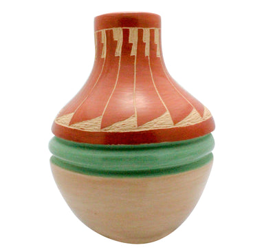 "Load image into Gallery viewer, Emma Yepa, Jemez Pueblo, Swirl Pottery, Contemporary, Jar, 6.5"" x 5.25"""